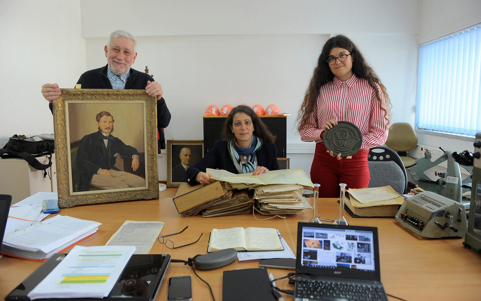 Jorge Custódio, Sofia Costa Macedo and Susana Pacheco, the team of industrial archeologists who analyzed the history of Caima