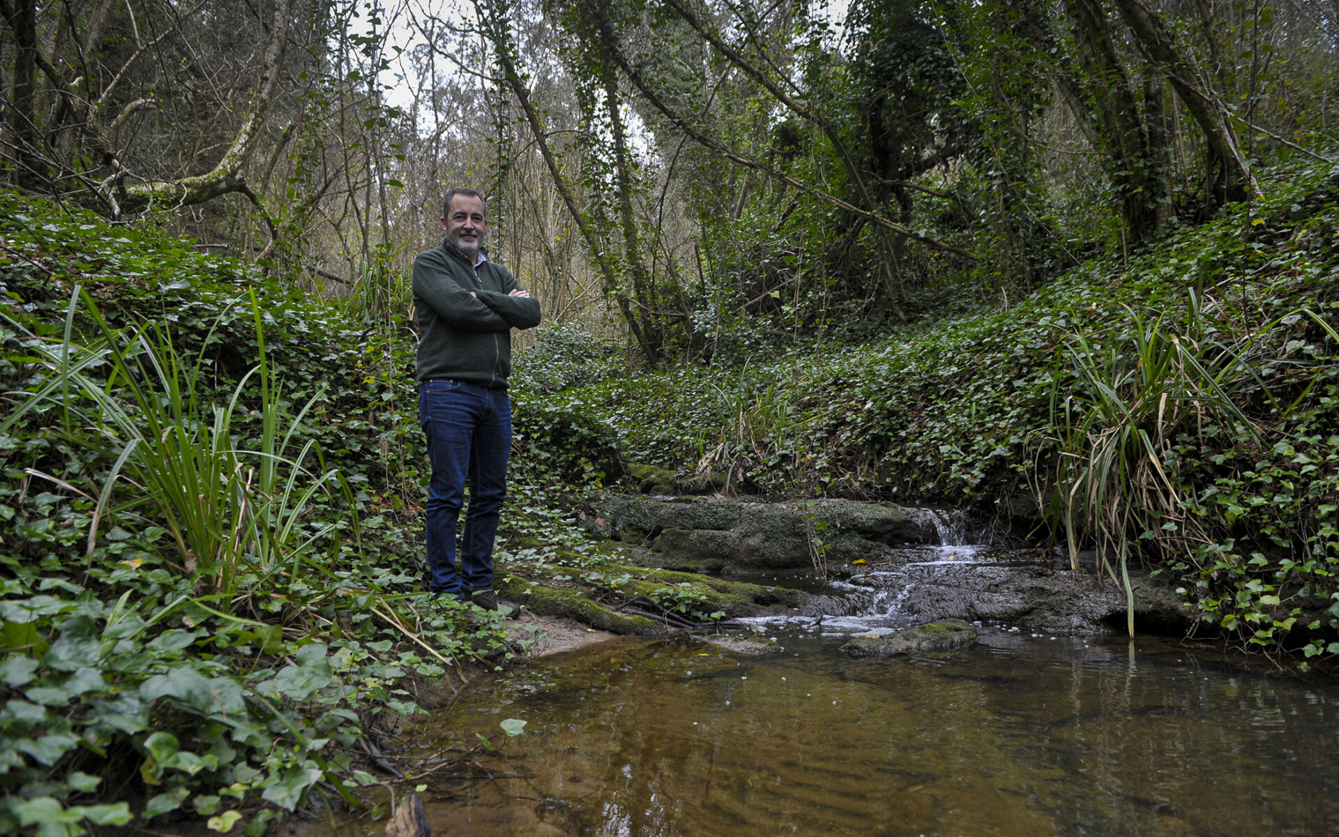 Pedro Serafim, the head of Biodiversity and Forest Certification at Altri Florestal in an area of riparian forest at Quinta do Furadouro, Óbidos